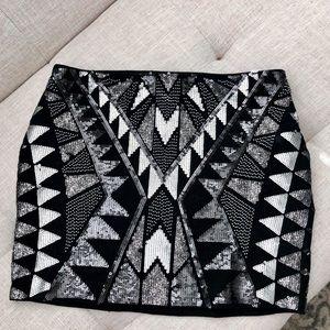 Geometric Sequin Black Mini skirt